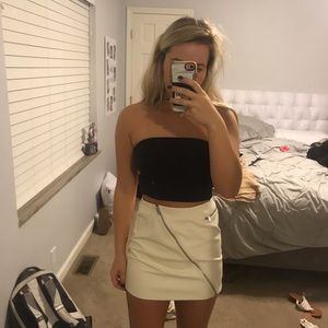 Off white Leather Skirt